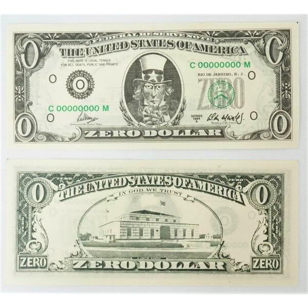 Zero dollar - Duas notas