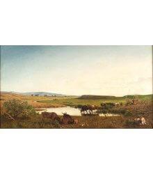 Paisagem campestre com lago e gado